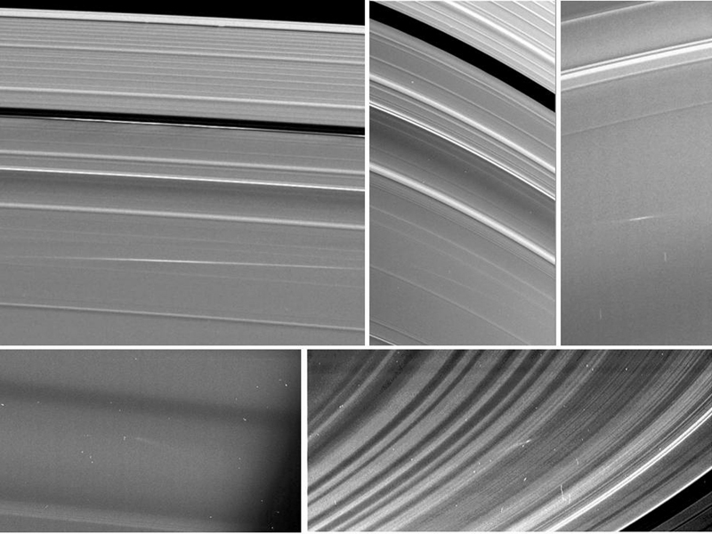 Five images of Saturn's rings, taken by NASA's Cassini spacecraft between 2009 and 2012, show clouds of material ejected from impacts of small objects into the rings.