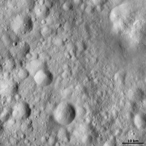 This image from NASA's Dawn spacecraft shows small rilles (scars) on asteroid Vesta's surface, mostly concentrated in the right half image, presumably due to impacts throwing out boulders, which crash across the surface scouring the rilles as they go.