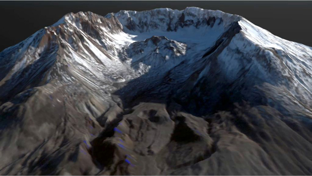 This frame from an animation depicts the growth of the lava dome at Mount St. Helens during the most recent period of activity. Lidar data courtesy USGS.