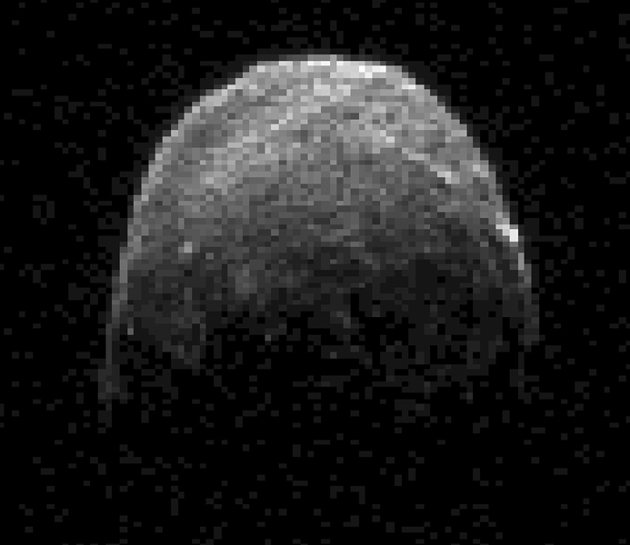 This radar image of asteroid 2005 YU55 was obtained NASA's Deep Space Network antenna in Goldstone, Calif. on Nov. 7, 2011, when the space rock was at 3.6 lunar distances, which is about 860,000 miles, or 1.38 million kilometers, from Earth.