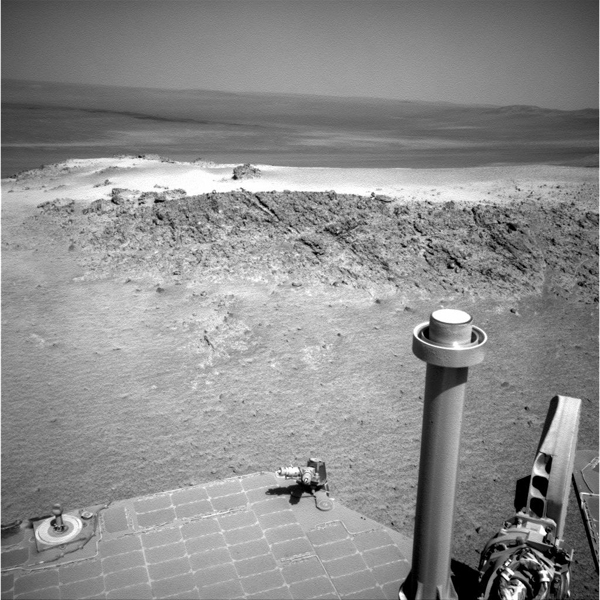 NASA's Mars Exploration Rover Opportunity used its navigation camera to capture this view of a northward-facing outcrop, 'Greeley Haven,' where the rover will work during its fifth Martian winter.