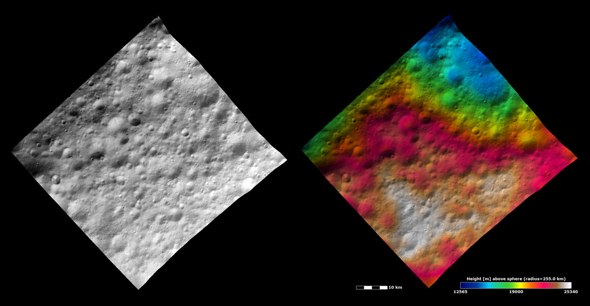 These images from NASA's Dawn spacecraft show part of Lucaria Tholus quadrangle in asteroid Vesta's northern hemisphere. Lucaria Tholus quadrangle is in Vesta's heavily cratered northern hemisphere.