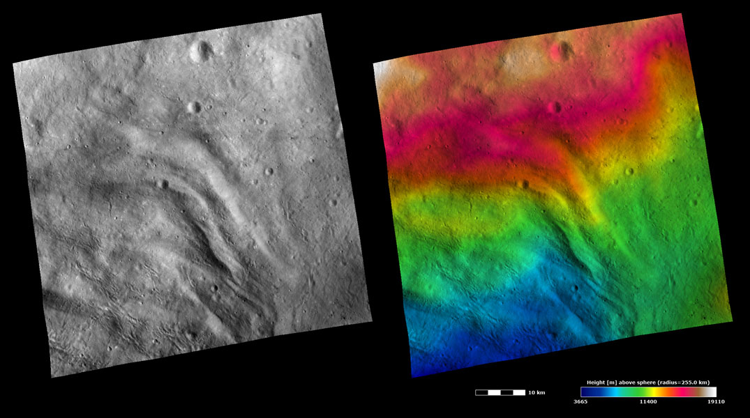 These images from NASA's Dawn spacecraft show part of the grooved terrain in asteroid Vesta's Pinaria quadrangle, which is in the southern hemisphere. Large-scale grooves and depressions can be seen running diagonally across the image.
