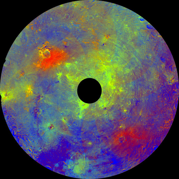 This image using color data obtained by the framing camera aboard NASA's Dawn spacecraft shows asteroid Vesta's southern hemisphere in color, centered on the Rheasilvia formation.