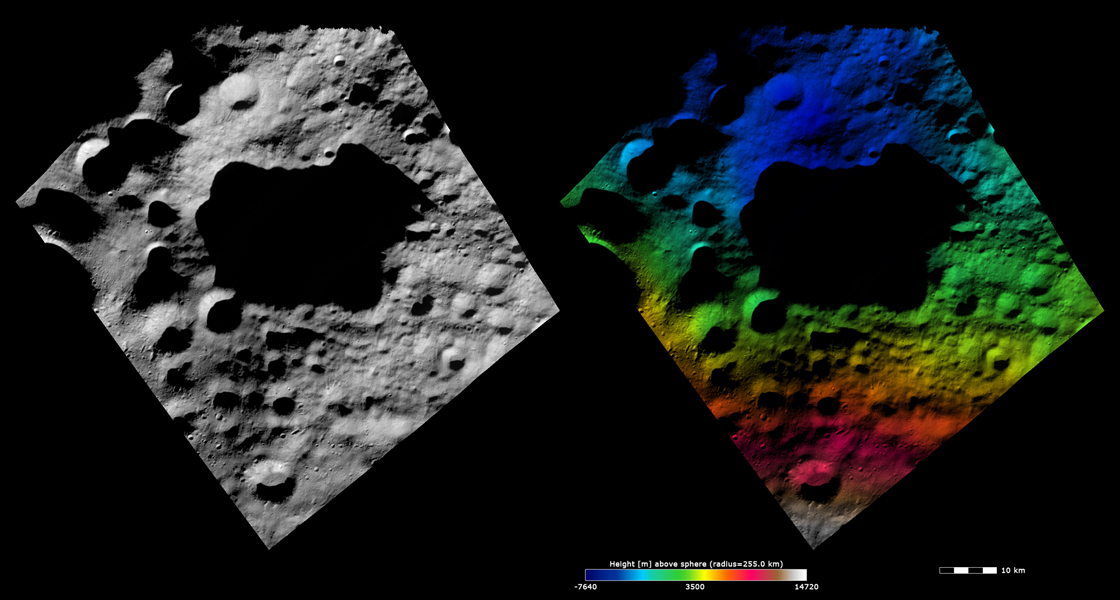 These images from NASA's Dawn spacecraft are dominated by the 45km diameter Domitia crater on asteroid Vesta, after which Domitia quadrangle is named.