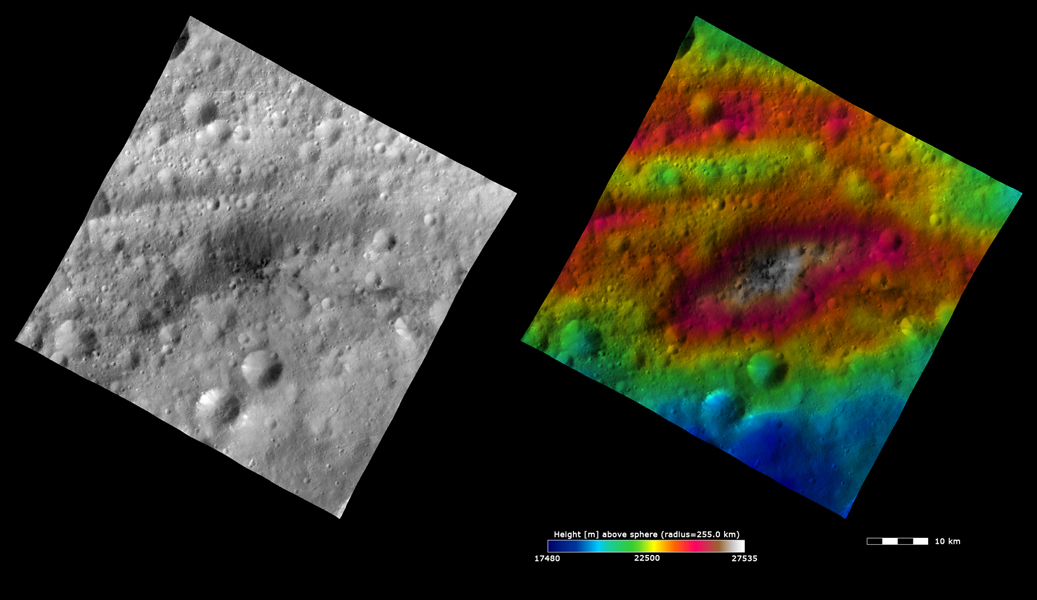 These images from NASA's Dawn spacecraft show Lucaria Tholus on asteroid Vesta, after which Lucaria quadrangle is named. Lucaria Tholus is the large, roughly elliptically shaped hill in the center of the image.
