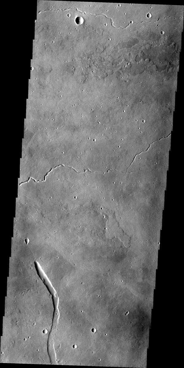 This image from NASA's 2001 Mars Odyssey spacecraft shows part of the eastern flank of Elysium Mons. The small channels were likely created due to the flow of lava, rather than water.