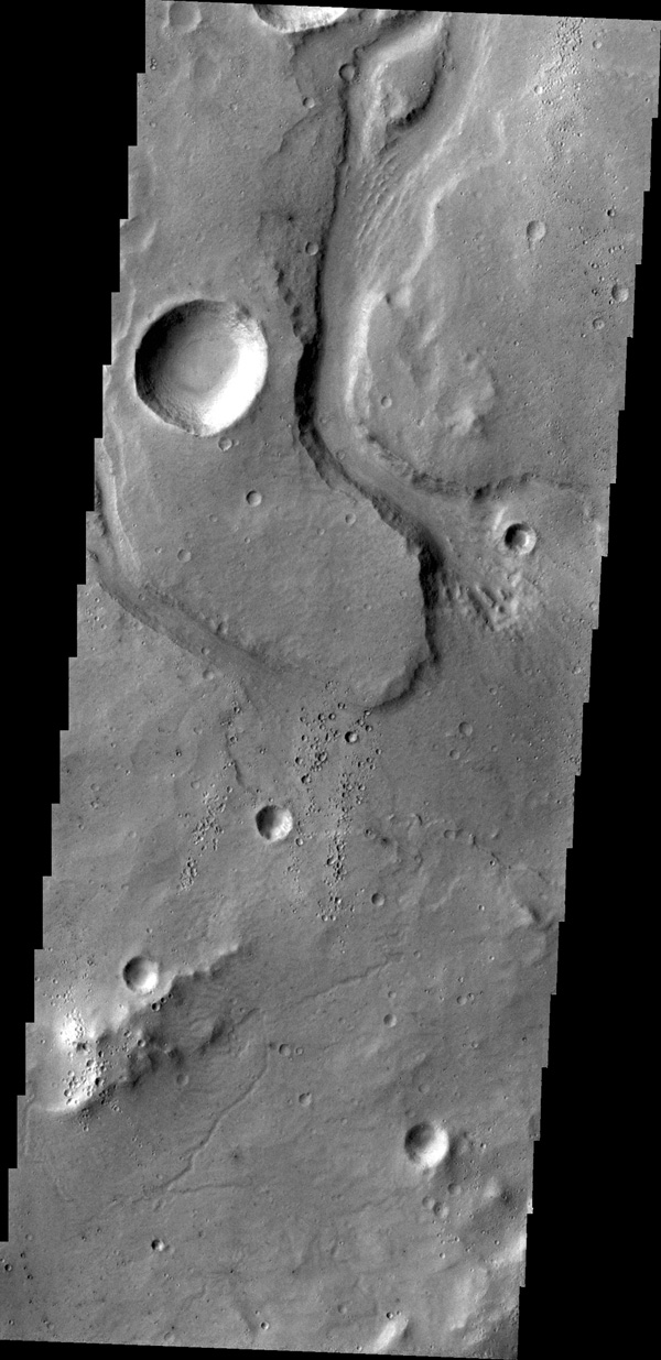This image captured by NASA's 2001 Mars Odyssey spacecraft shows an unnamed channel on part of the highlands above Tiu Valles.