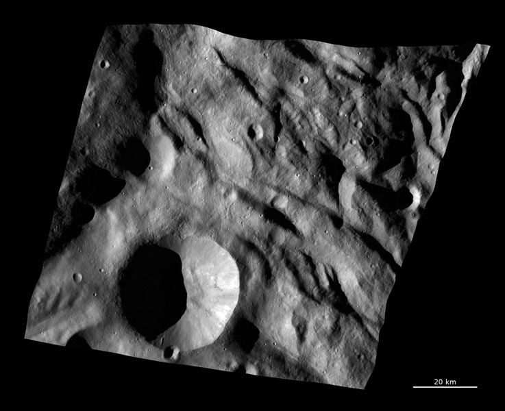 This image from NASA's Dawn spacecraft shows the texture of the surface in a part of asteroid Vesta's southern hemisphere. This region is just north of the main Rheasilvia structure.