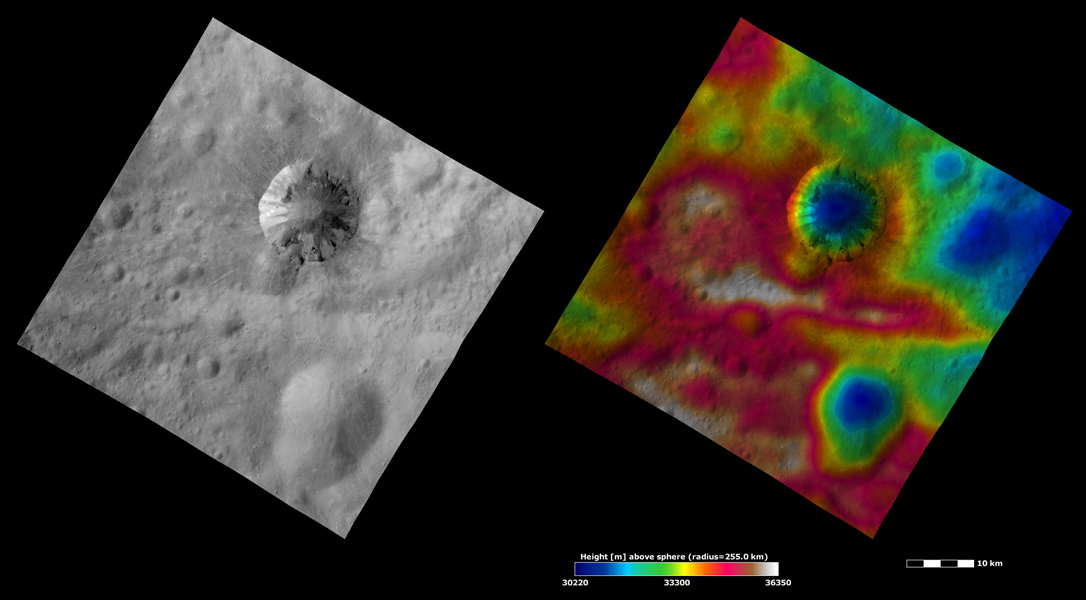 These images taken by NASA's Dawn framing camera are located in asteroids Vesta's Numisia quadrangle.