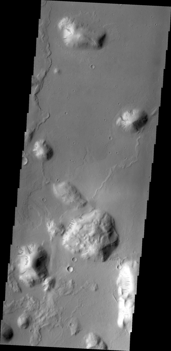Most of the hills in this image from NASA's 2001 Mars Odyssey spacecraft have dark streaks thought to be where bright dust has been removed by sliding down the hillside.