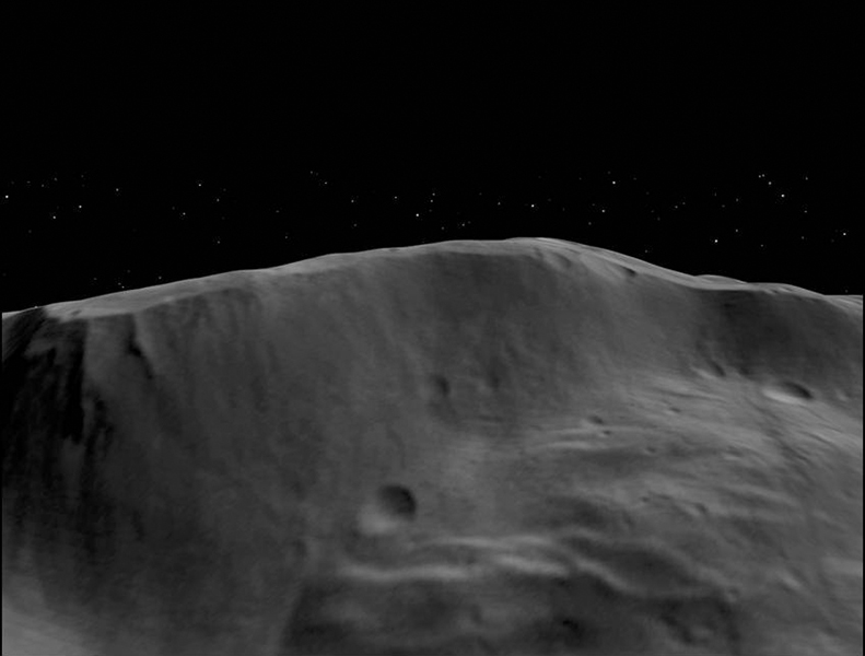 This still from an animation made from data obtained by NASA's Dawn spacecraft shows the topography of a portion of the wall and interior of the Rheasilvia impact basin in asteroid Vesta's south-polar region.