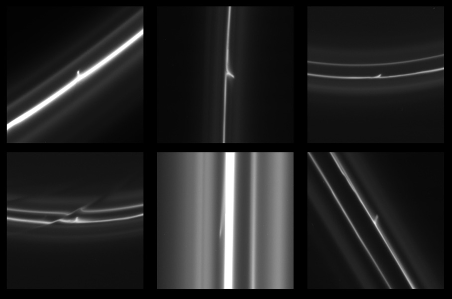 This image obtained by NASA's Cassini spacecraft shows trails that were dragged out from Saturn's F ring by objects about a half mile (1 kilometer) in diameter.