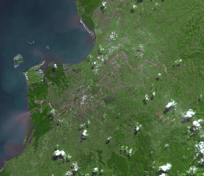 This image, acquired by NASA's Terra spacecraft, shows Fiji, hard hit by heavy rains in early 2012, causing flooding and landslides. Hardest hit was the western part of the main Island of Viti Levu, Fiji, and the principal city of Nadi.