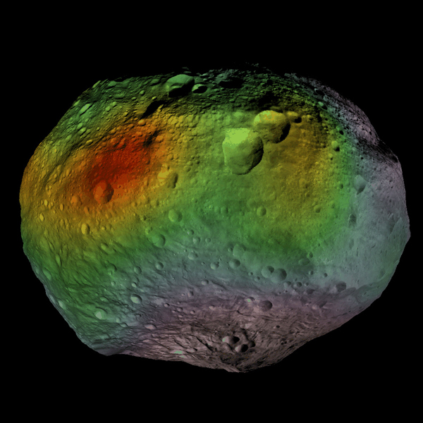This image shows that NASA's Dawn mission detected abundances of hydrogen in a wide swath around the equator of the giant asteroid Vesta. The hydrogen probably exists in the form of hydroxyl or water bound to minerals in Vesta's surface.