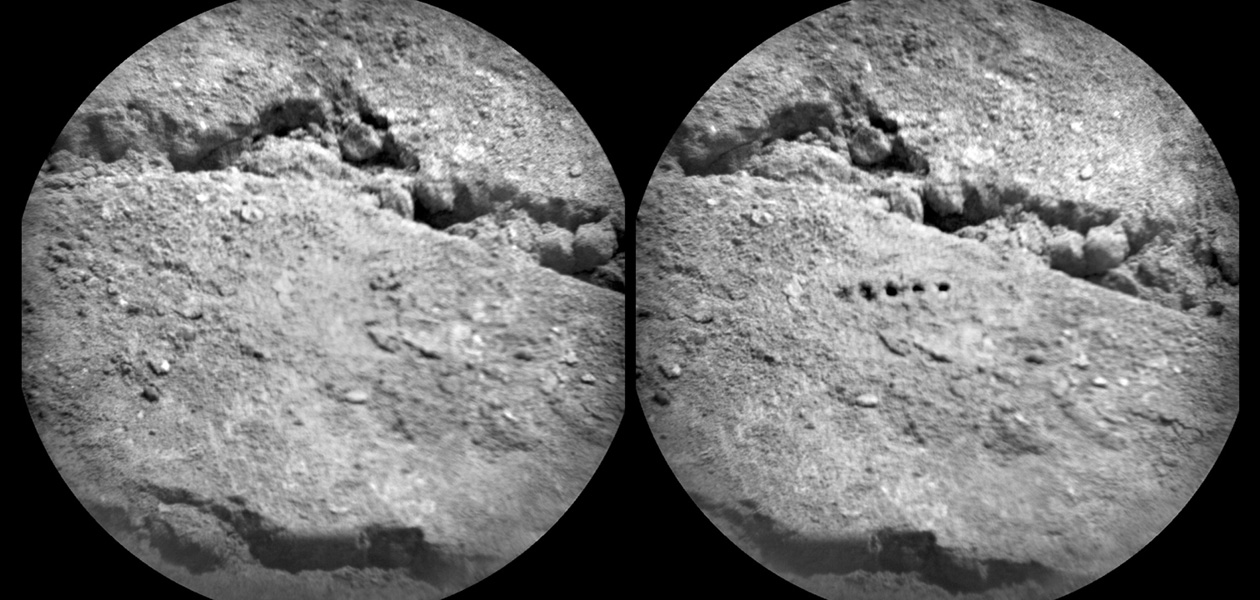 The Chemistry and Camera (ChemCam) instrument on NASA's Mars rover Curiosity used its laser to examine side-by-side points in a target patch of soil, leaving the marks apparent in this before-and-after comparison.