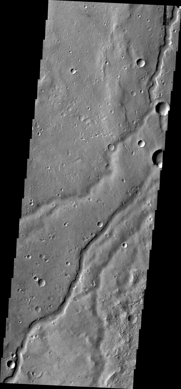 The small channel in this image from NASA's 2001 Mars Odyssey spacecraft runs semi-parallel to Shalbatana Vallis in Xanthe Terra.