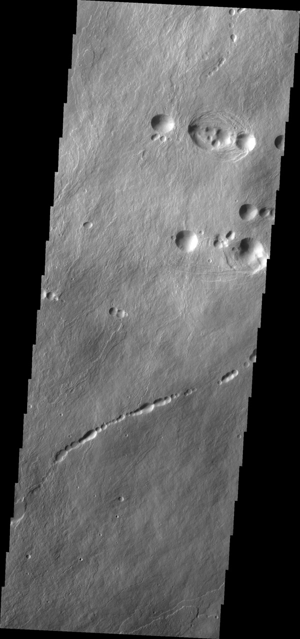 The pits in this image from NASA's 2001 Mars Odyssey spacecraft are collapse features on the northern flank of Ascraeus Mons.