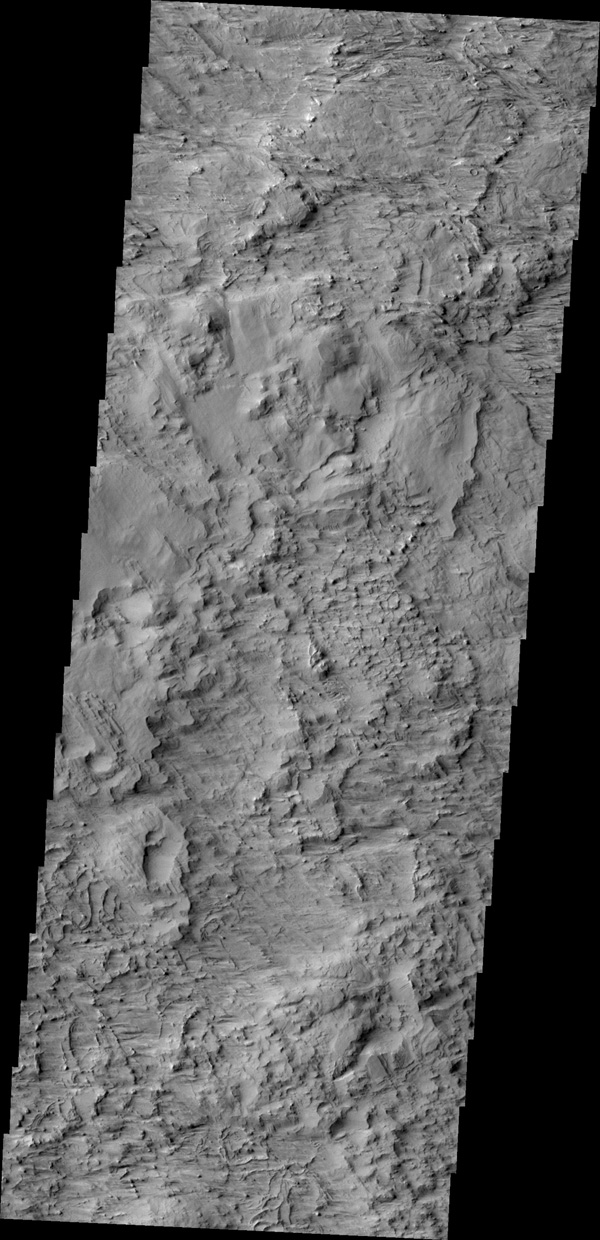 This image from NASA's 2001 Mars Odyssey spacecraft shows a wind eroded surface located between the lava flows of Olympus Mons and the wind eroded ridge called Gordii Dorsum.