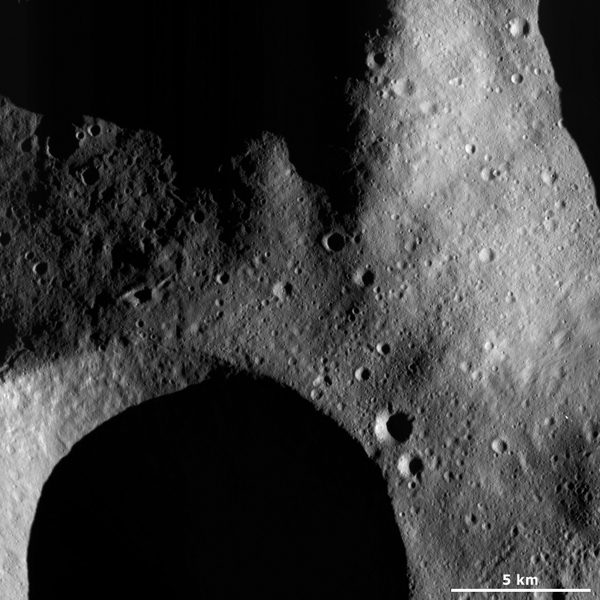 This image from NASA's Dawn spacecraft is located in asteroid Vesta's Caparronia quadrangle.