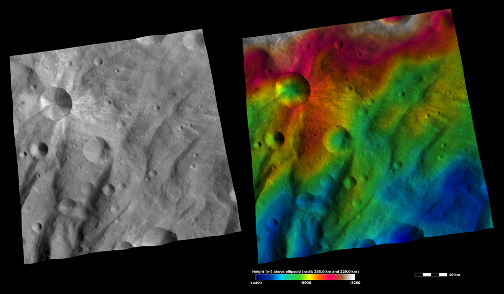 These images from NASA's Dawn spacecraft are located in asteroid Vesta's Urbinia quadrangle, in asteroid Vesta's southern hemisphere.