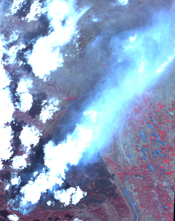 Acquired by NASA's Terra spacecraft on June 25, 2012, this image shows the High Park fire west of Fort Collins, Colo. More than 83,000 acres have been burned and approximately 250 homes, the most in Colorado history.