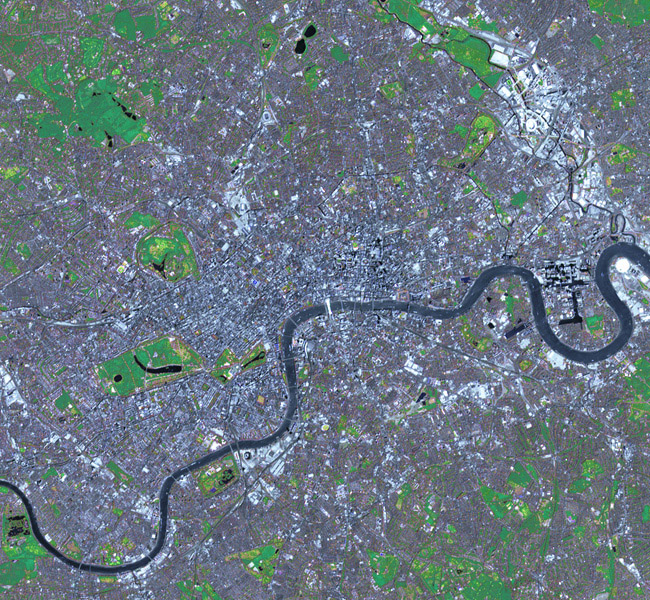 This simulated natural color image of London was acquired May 26, 2012 by NASA's Terra spacecraft. Major construction projects included the new 400-acre Olympic Park for the 2012 Summer Olympic Games.