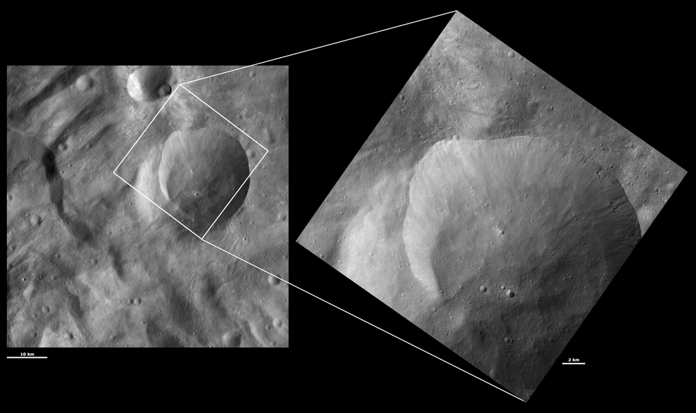 These images from NASA's Dawn spacecraft are located in Tuccia quadrangle, in Vesta's southern hemisphere.