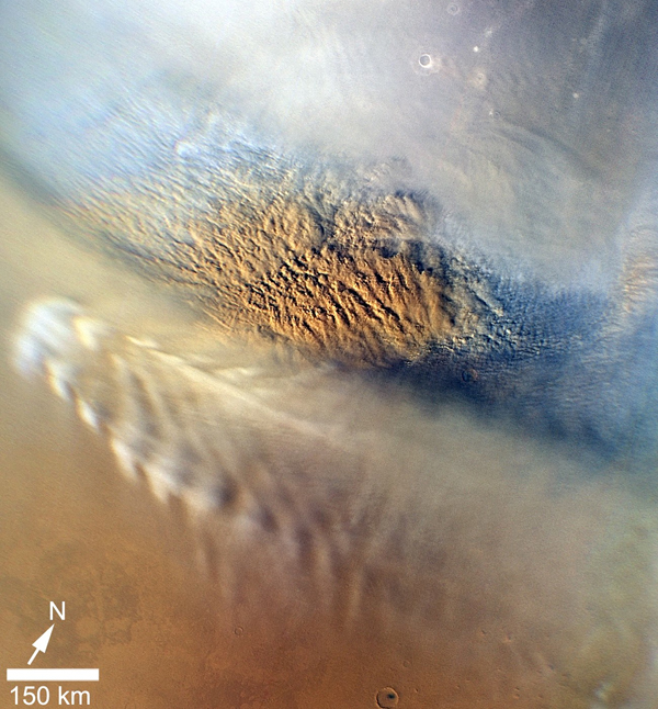 This close-up image of a dust storm on Mars was acquired by the Mars Color Imager instrument on NASA's Mars Reconnaissance Orbiter on Nov. 7, 2007. This image is centered on Utopia Planitia.