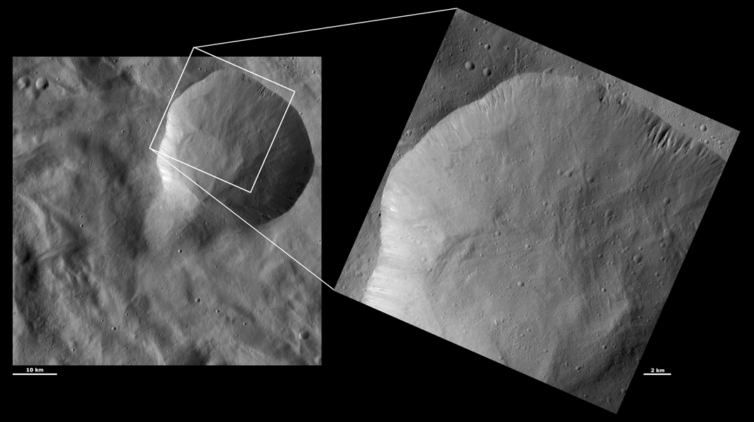 These images from NASA's Dawn spacecraft are located in asteroid Vesta's Pinaria quadrangle, in Vesta's southern hemisphere.