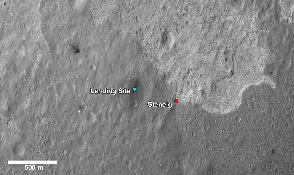 This image shows a closer view of the landing site of NASA's Curiosity rover and a destination nearby known as Glenelg. Curiosity landed inside Gale Crater on Mars on Aug. 5 PDT (Aug. 6 EDT) at the blue dot.