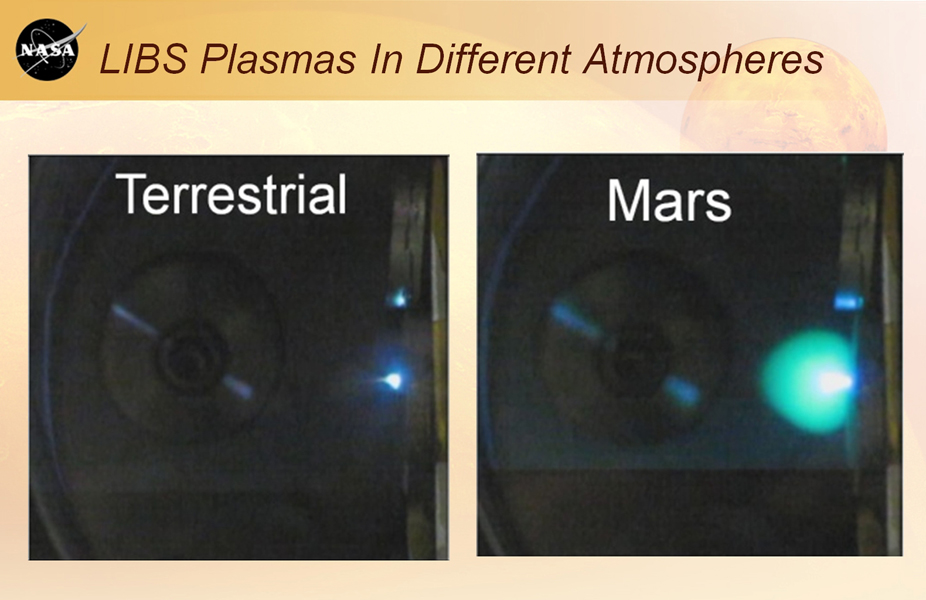 This image shows laser plasmas in a test lab at Los Alamos National Laboratory, N.M., under typical atmospheric pressures on Earth and Mars. A plasma is an ionized, glowing gas.