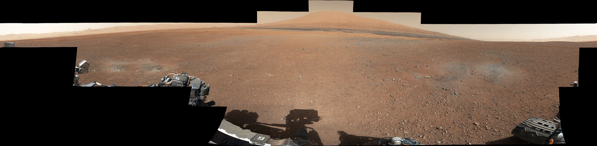 This color panorama shows a 360-degree view of the landing site of NASA's Curiosity rover, including the highest part of Mount Sharp visible to the rover.