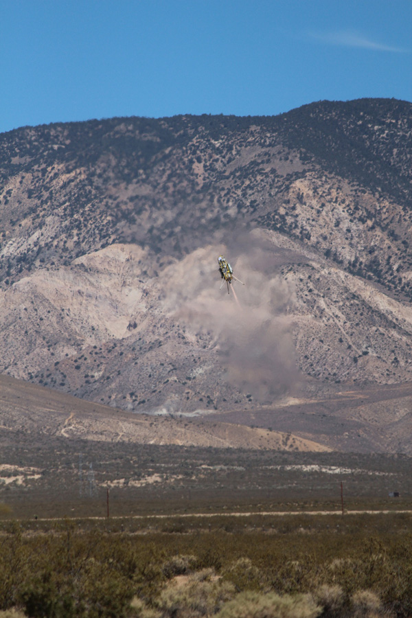 This image was taken during a flight test of JPL's Autonomous Descent and Ascent Powered-Flight Testbed (ADAPT). The testbed was flown aboard a Masten Space System Xombie rocket.-Flight Testbed (ADAPT).