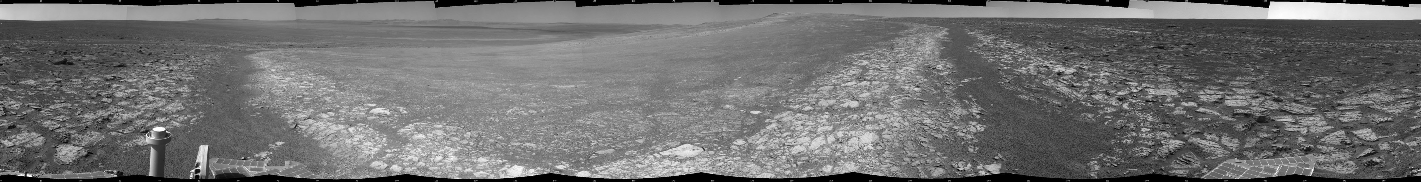 This 360-degree panorama assembled from images taken by the navigation camera on NASA's Mars Exporation Rover Opportunity. The Sol 3000 site is near the northern tip of the Cape York segment of the western rim of Endeavour Crater.