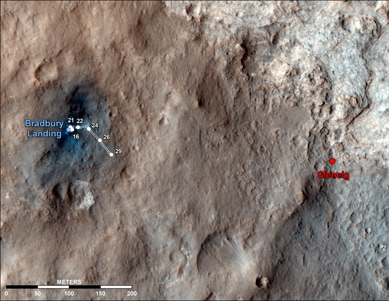 This map shows the route driven by NASA's Mars rover Curiosity through the 29th Martian day, or sol, of the rover's mission on Mars (Sept. 4, 2012).