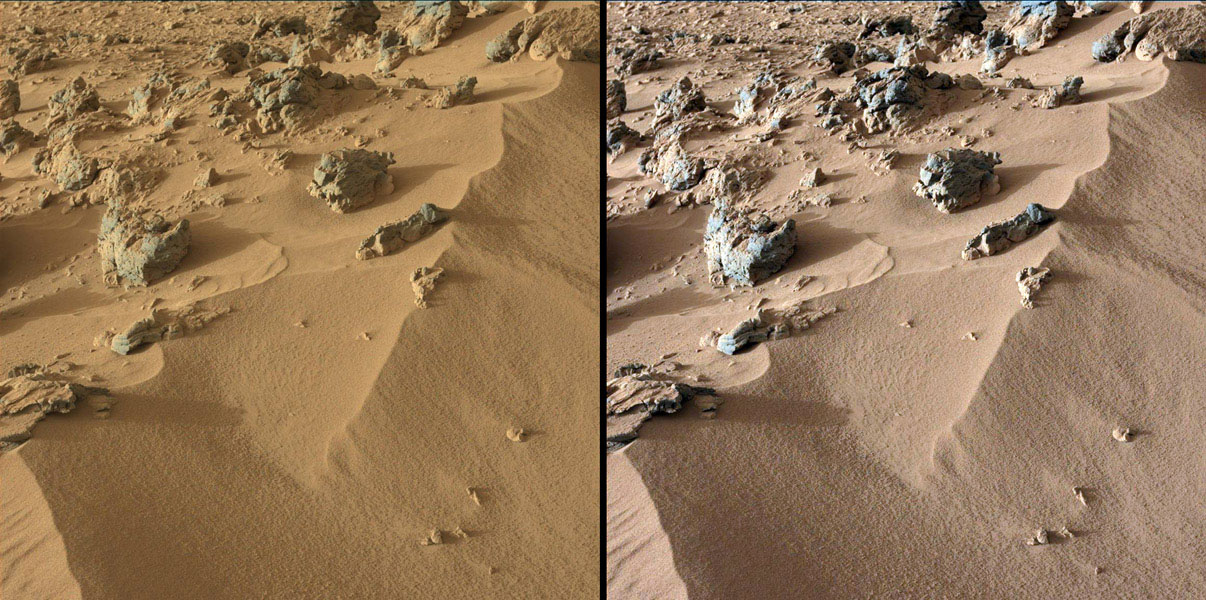 This pair of images from the Mast Camera on NASA's Curiosity rover shows the upper portion of a wind-blown deposit dubbed 'Rocknest.' At left, colors are unmodified, showing the scene as it would appear on Mars, which has a dusty red-colored atmosphere.