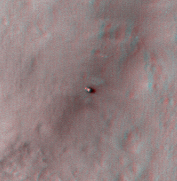 This stereo anaglyph shows NASA's Mars rover Curiosity where it landed on Mars within Gale Crater, at a site now called Bradbury Landing. You need 3-D glasses to view this image.