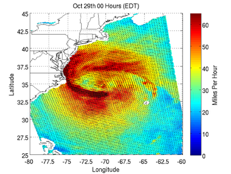 This image shows ocean surface winds for Hurricane Sandy observed by the OSCAT radar scatterometer on the Indian Space Research Organization's (ISRO) OceanSat-2 satellite. Colors indicate wind speed and arrows indicate direction.