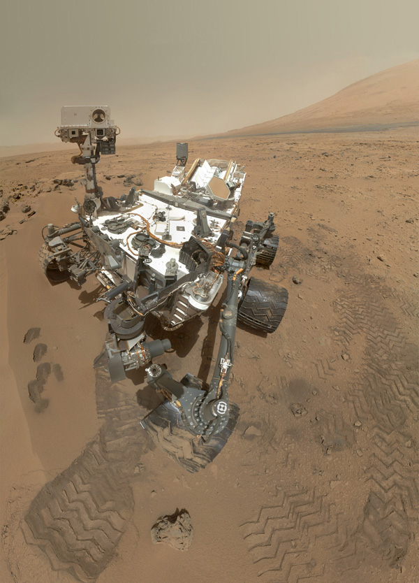 The Curiosity rover used its Mars Hand Lens Imager (MAHLI) to capture a set of 55 high resolution images, which were stitched together to create a full-color self-portrait.