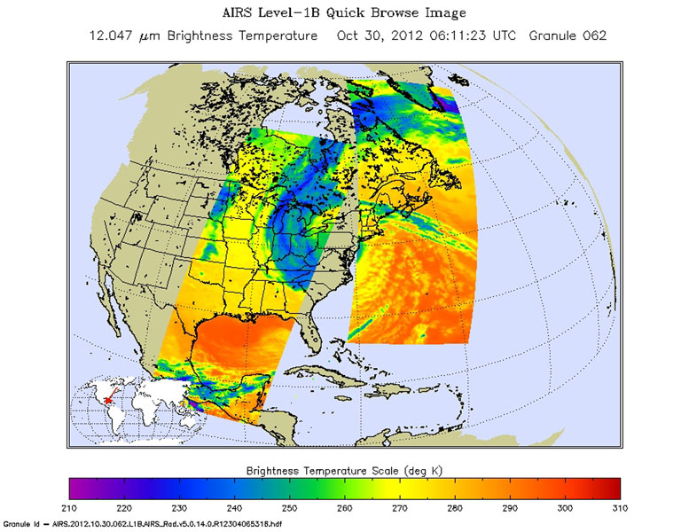 Early Tuesday, Oct. 30, 2012, Hurricane Sandy continued inland, moving to the northwest over Pennsylvania. Swaths of infrared measurements taken over two orbits of NASA's Aqua satellite by the Atmospheric Infrared Sounder are displayed here.