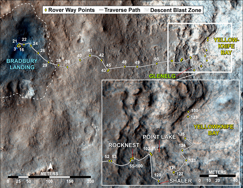 This map traces where NASA's Mars rover Curiosity drove between landing at a site subsequently named 'Bradbury Landing,' where the rover entered a shallow depression called 'Yellowknife Bay' on Sol 125 (Dec.12).