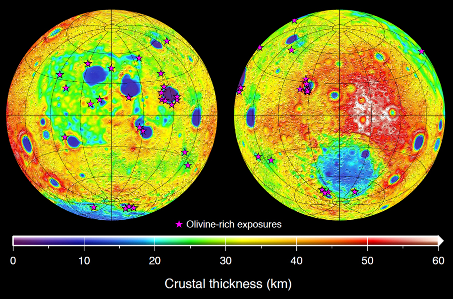 This graphic depicting the bulk density of the lunar highlands on the near and far sides of the moon was generated using gravity data from NASA's GRAIL mission and topography data from NASA's Lunar Reconnaissance Orbiter.