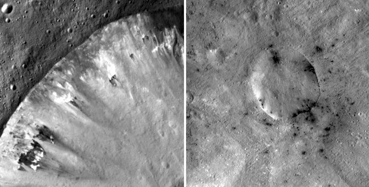 These mosaic images from NASA's Dawn mission show how dark, carbon-rich materials tend to speckle the rims of smaller craters or their immediate surroundings on the giant asteroid Vesta; Numisia Crater is shown at left.