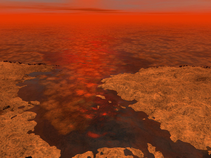 This artist's concept envisions what hydrocarbon ice forming on a liquid hydrocarbon sea of Saturn's moon Titan might look like.