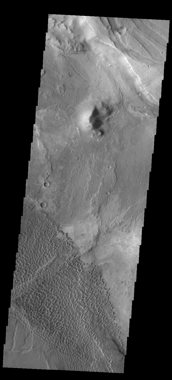 This image captured by NASA's 2001 Mars Odyssey spacecraft shows the dune field on the floor of Nili Patera.