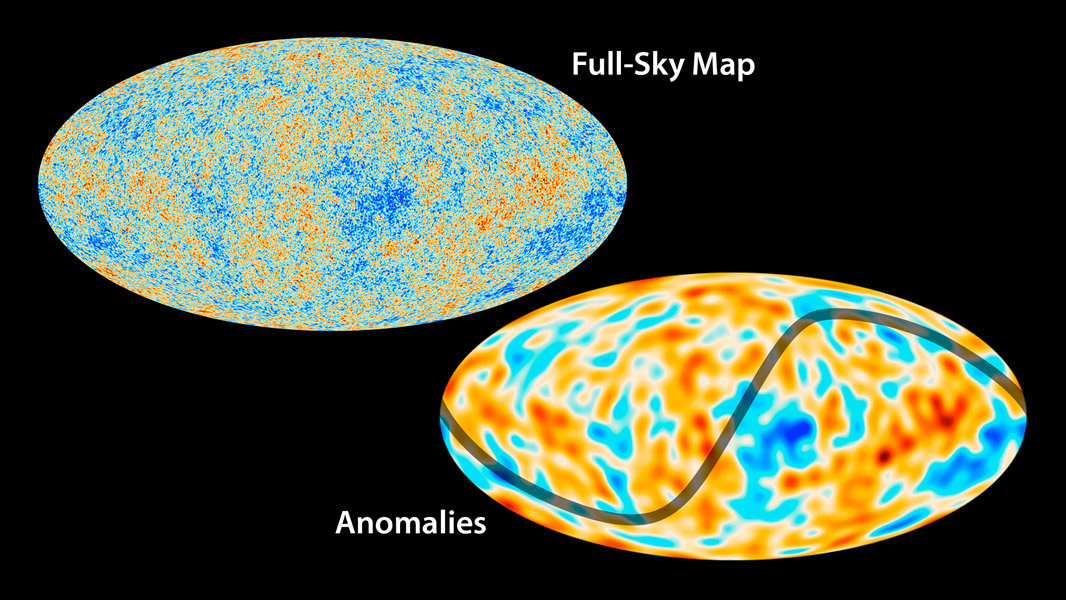 ESA's Planck mission has imaged the oldest light in our universe. The top map shows Planck's all-sky map of the cosmic microwave background, whereas the bottom map shows the largest-scale features of the map.
