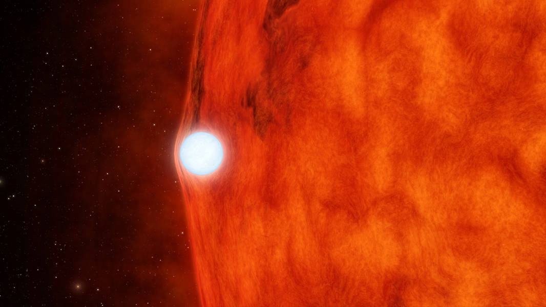 Space Images | Dead Star Warps Light of Red Star (Artist's ...