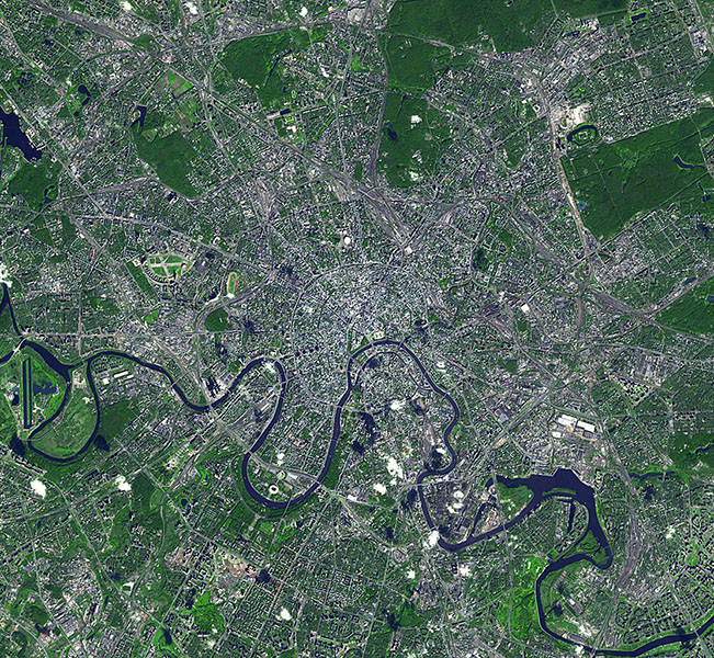 This image from NASA's Terra spacecraft shows Moscow, the capital city of Russia, the northernmost megacity in the world, the most populous in Europe, and with a population of over 11,000,000, the 6th largest city proper in the world.