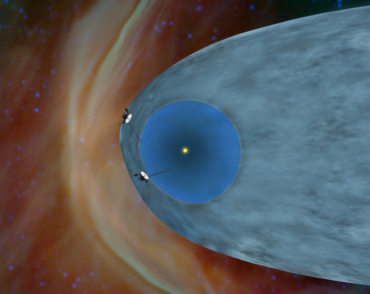 This artist's concept shows NASA's two Voyager spacecraft exploring a turbulent region of space known as the heliosheath, the outer shell of the bubble of charged particles around our sun.
